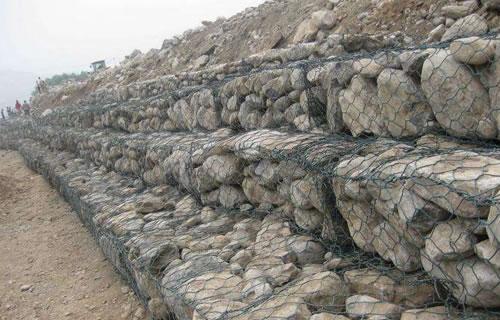 Stone gabion basket of PVC coated galvanized mesh type
